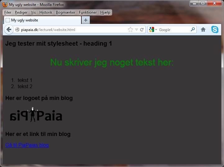 Et skærmskud af My ugly website - en øvelse i at bygge og style en webside.