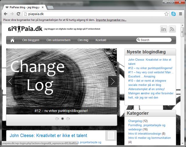 Sådan så min blog ud før brugertesten.
