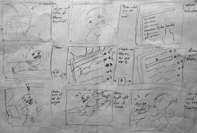 """Storyboard til videoen med prototypen """"Race the World""""."""