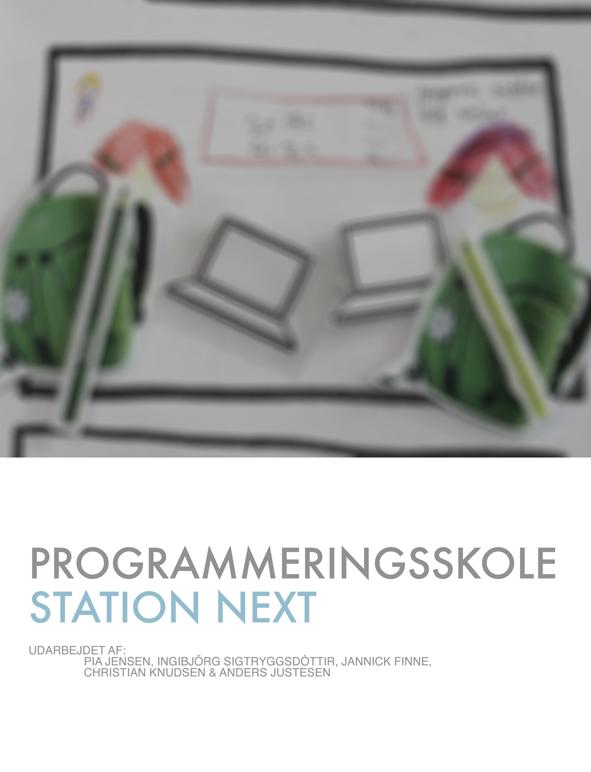"""Forsiden på vores koncept """"Programmeringsskole"""" til Station Next."""