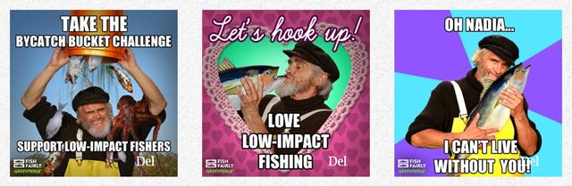 Eksempler på memes fra Greenpeace' kampagne Fair Fiskeri.