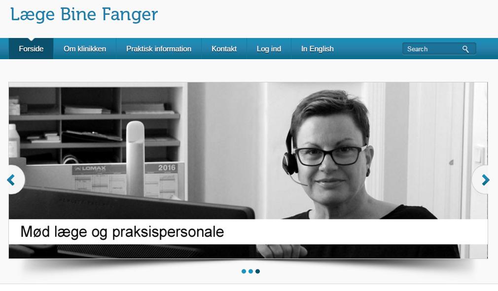 Den nye forside på nyhavnslægen.dk